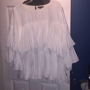 Lane Bryant white layered blouse